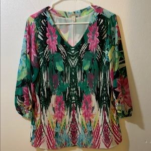 DANA BUCHMAN Floral Pleated Front Blouse